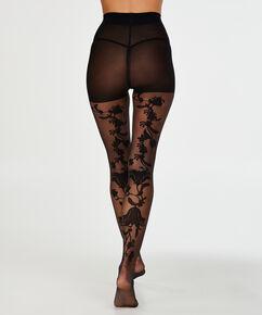 Panty 20 Denier Paisley, Zwart