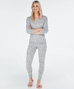 Lange pyjama set met legging, Grijs