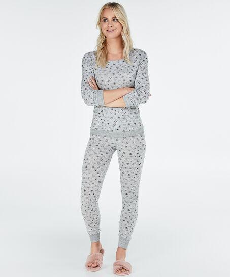 Lange pyjamaset met legging, Grijs