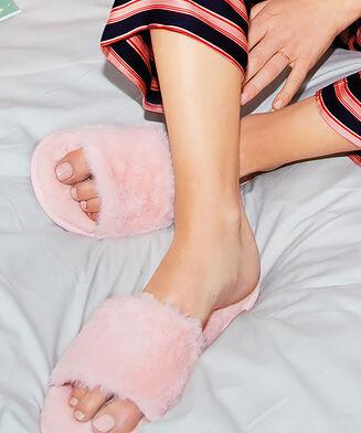 Huisslippers Fur Top, Roze