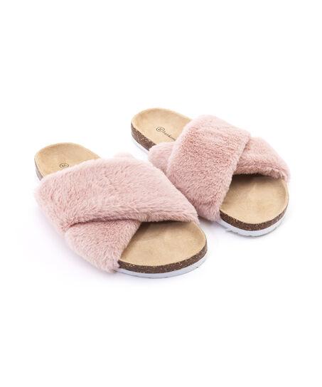 Huisslipper Fur Cross, Roze