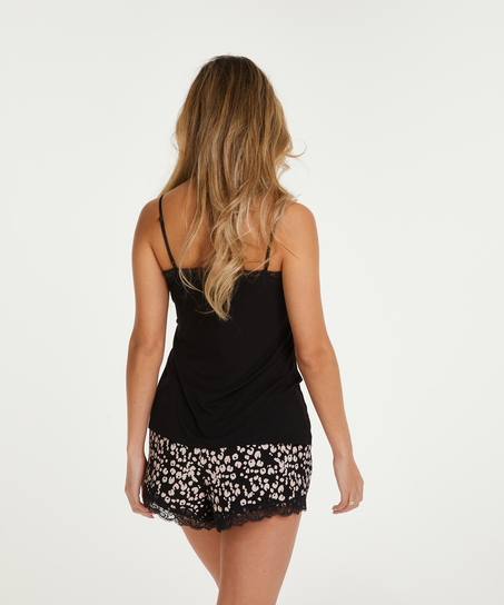 Korte pyjama set Painted Leopard, Zwart