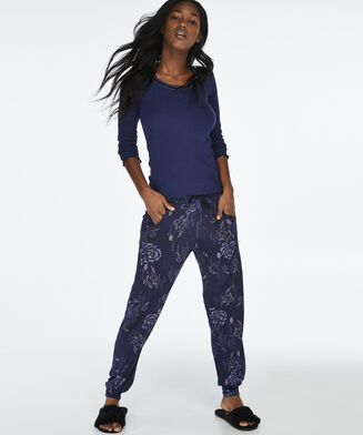 Pyjamabroek Jersey loose fit, Blauw