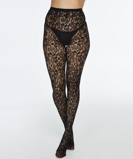 Panty Fishnet Lace Pattern, Zwart