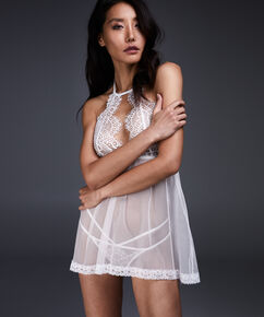 Baby doll Halter lace, Wit