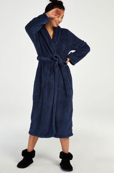 Hunkemoller Lange badjas Fleece Blauw
