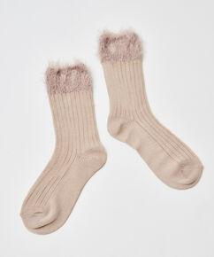 1 paar fluffy sokken, Wit