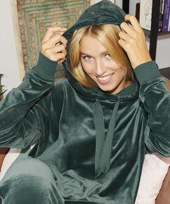 Pyjama top lange mouwen velours, Groen