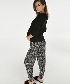Lange mouwen zwangerschapspyjamashirt rib, Zwart