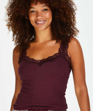 Top Rib Cami lace, Rood