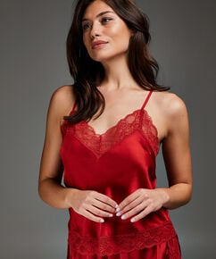 Cami top Satin Lace, Rood