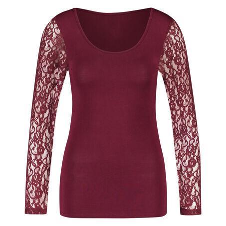 T-shirt lange mouw Kant, Rood