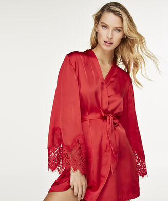 Kimono Lace Satin, Rood
