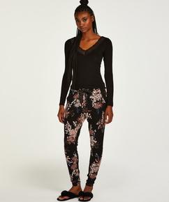 Tall pyjamabroek Ditzy Floral, Zwart