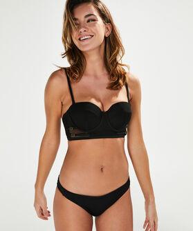 Voorgevormde strapless longline beugel bikinitop Wave Maker, Zwart
