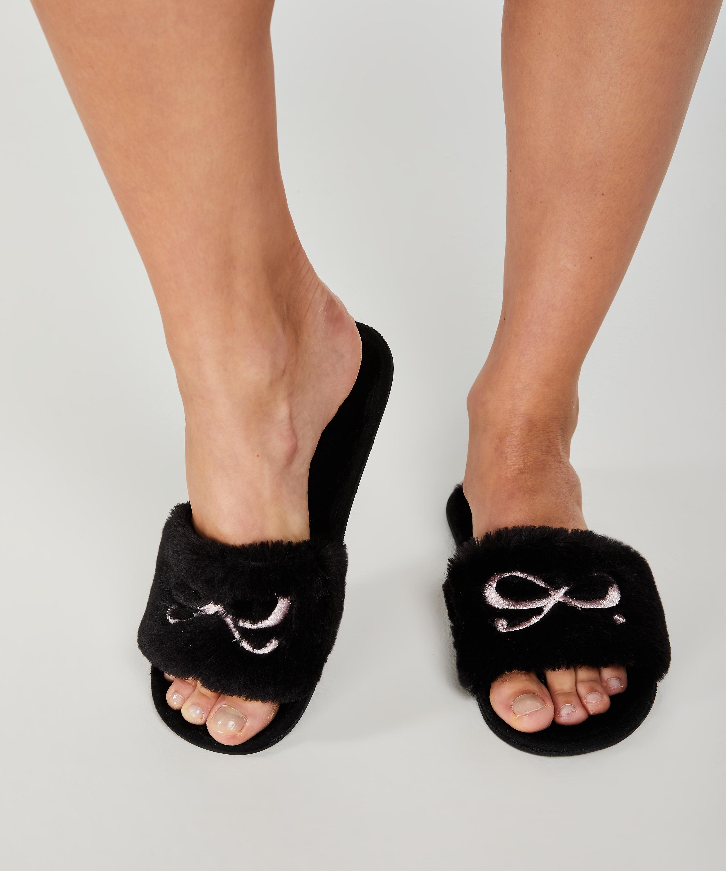 Bow fake fur top slipper, Zwart, main