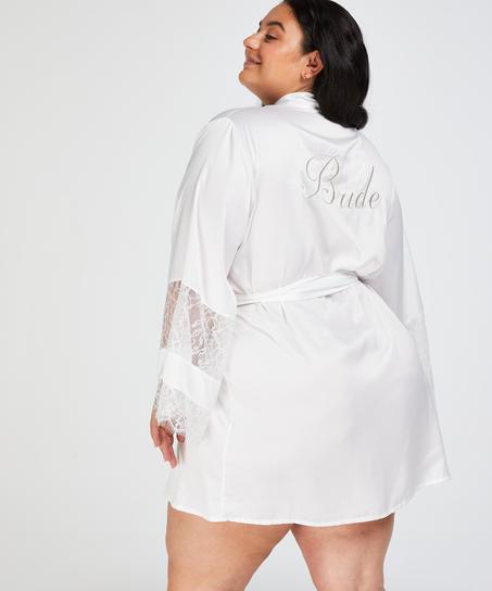 Kimono satijn Bridal, Wit