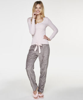 Pyjamatop longsleeve rib, Roze
