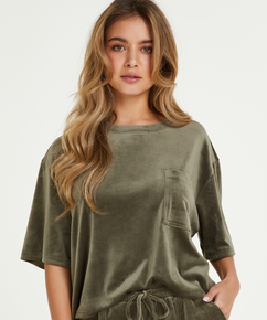 Top Velours Pocket, Groen