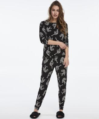 Pyjama top lange mouwen jersey, Zwart
