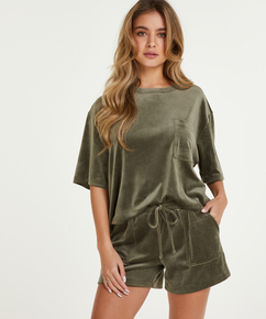 Shorts Velours Pocket, Groen