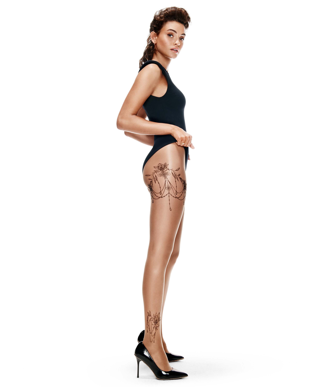 Panty 15 Denier Leg Tattoos, Beige, main