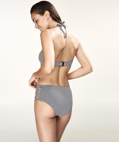 Hoog cheeky bikinibroekje Lace-up, Zwart