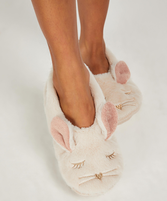 Pantoffels ballerina Konijn, Beige, main