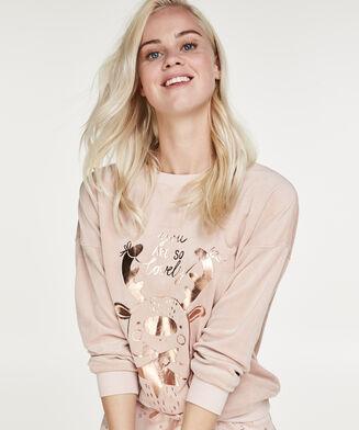 Lange mouwen pyjamatop Velours Glitter Rendier , Roze