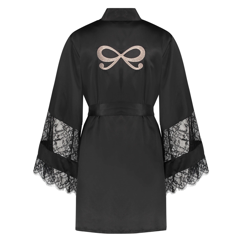 Kimono satin lace, Zwart, main