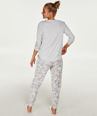 Lange mouwen pyjamatop Jersey, Grijs