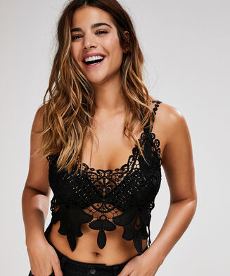 Crochet top, Zwart