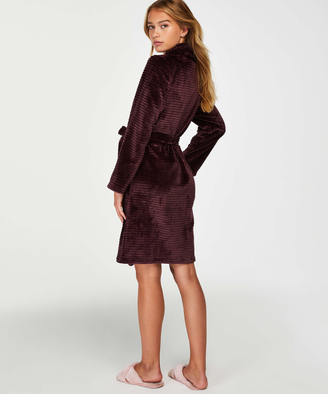 Korte badjas Fleece rib, Rood, main