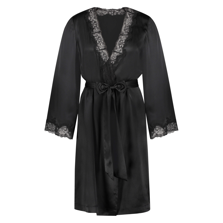 Kimono zijde lace trim, Zwart, main