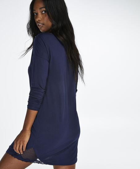Nachthemd met lange mouwen Mesh Lace, Blauw