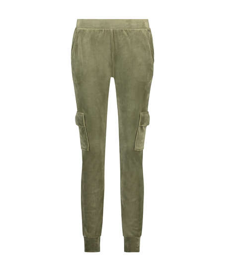 Joggingbroek Velours Cargo, Groen