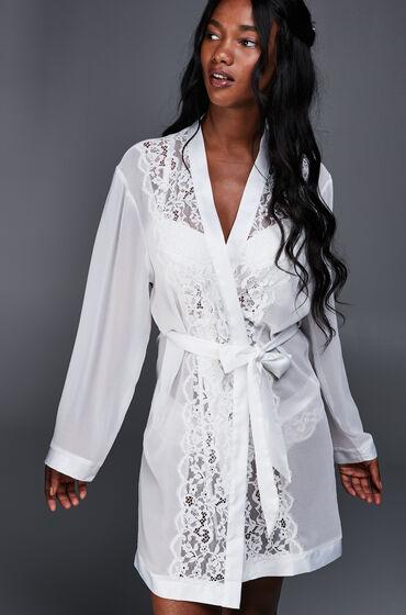 Kimono chiffon lace Wit