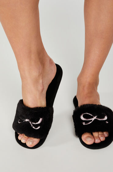 Hunkemoller Bow fake fur top slipper Zwart