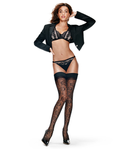 Stay-up 15 Denier Fishnet, Zwart