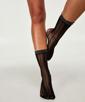 Sokken crochet fishnet Ann Kathrin, Zwart