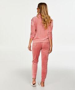 Pyjamatop lange mouwen Velours Turtle Neck, Roze