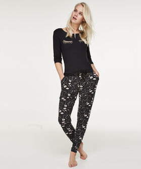 Lange mouwen pyjamatop Jersey, Zwart