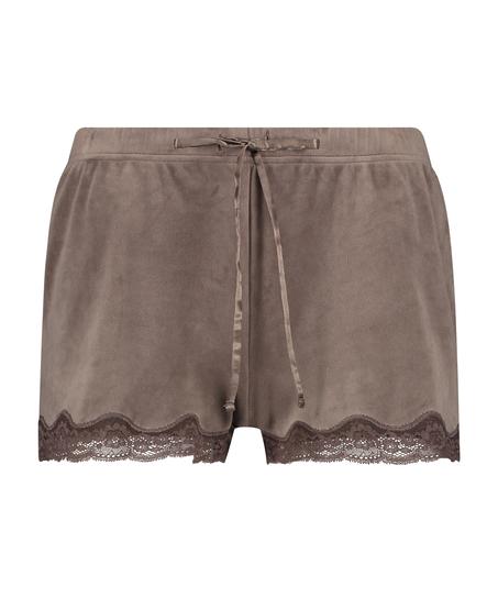 Shorts Velours Lace, Bruin