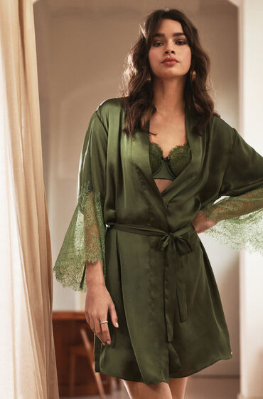 Hunkemöller Kimono Satijn Lily Groen