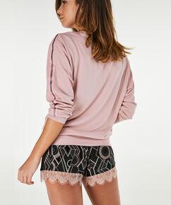 Pyjama short Jersey Lace, Zwart