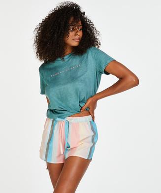 Pyjamashort chambray stripe, Roze
