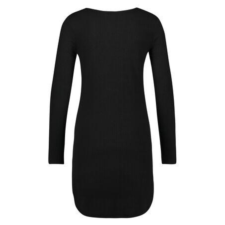 Nachthemd met lange mouwen rib , Zwart