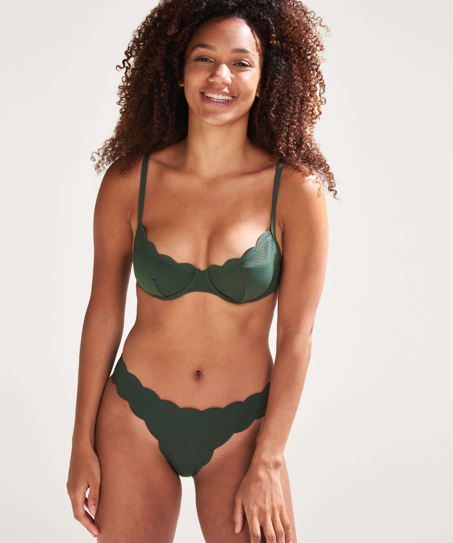 Niet-voorgevormde bikinitop met beugel Scallop Glam, Groen, main