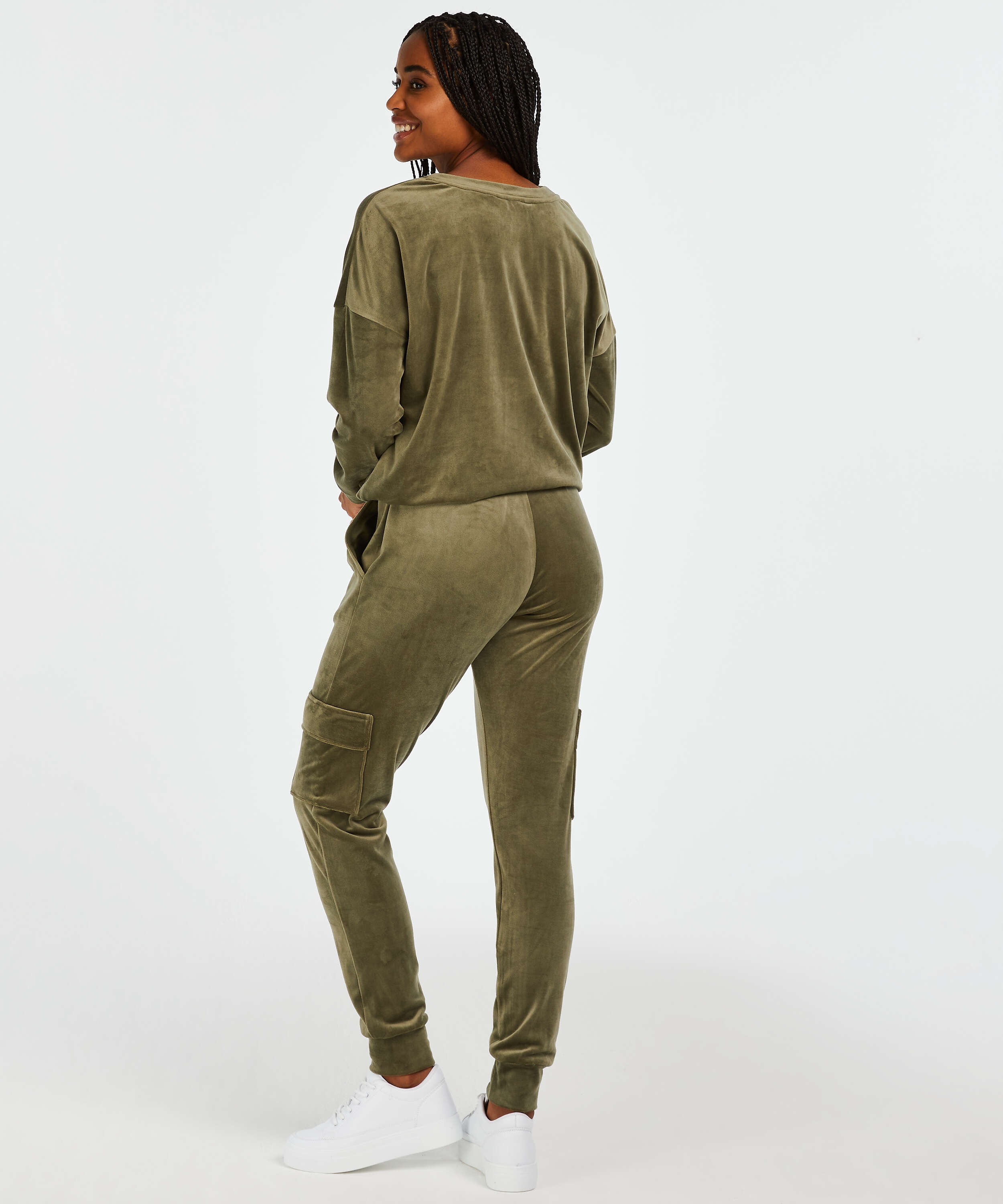 Joggingbroek Velours Cargo, Groen, main