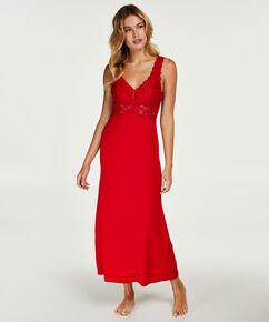 Slipdress Modal lace long, Rood